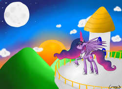 Size: 5500x4000 | Tagged: alicorn, artist:gree3, canterlot, ethereal mane, female, gradient mane, hoof shoes, jewelry, magic, magic aura, mare, moon, older, peytral, pony, regalia, safe, solo, sun, twilight sparkle, twilight sparkle (alicorn), ultimate twilight