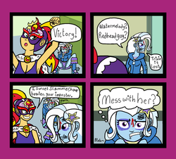 Size: 1338x1208 | Tagged: artist:oneovertwo, comic, equestria girls, luchador, safe, sunset shimmer, trixie, trixie enemy of, trixie enemy of a rare situation