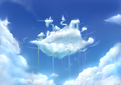 Size: 1247x878 | Tagged: artist:mlpanon, city, cloud, cloudsdale, no pony, rainbow waterfall, safe, scenery, sky