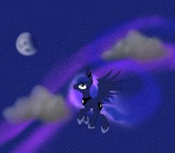 Size: 4000x3500   Tagged: safe, artist:tvio, princess luna, flying, moon, solo