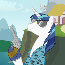 Size: 600x600 | Tagged: safe, artist:hudoyjnik, shining armor, clothes, grand theft auto, gta vice city, gun, hoof hold, male, revolver, shirt, smirk, solo, sunglasses, tommy vercetti, weapon, who needs trigger fingers