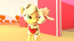Size: 1920x1080 | Tagged: safe, artist:crax97, apple bloom, applejack, 3d, accessory swap, cute, grin, hug, nuzzling, one eye closed, ponies riding ponies, smiling, source filmmaker, squee, wink
