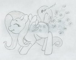 Size: 1280x1014   Tagged: safe, artist:ratwhiskers, fluttershy, butterfly, fart, fart noise, female, monochrome, onomatopoeia, solo, sound effects, traditional art, wat