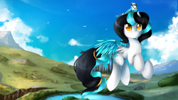 Size: 1280x720 | Tagged: safe, artist:takuyarawr, oc, oc only, oc:soaring grace, bird, pegasus, pony, city, cloud, female, flying, mare, mountain, river, scenery, sky, solo