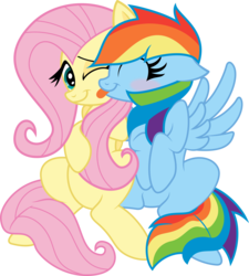 Size: 6000x6656 | Tagged: safe, artist:vladimirmacholzraum, artist:xquiizitgam3r, fluttershy, rainbow dash, .svg available, absurd resolution, blushing, cute, dashabetes, eyes closed, female, floppy ears, flutterdash, lesbian, licking, shipping, shyabetes, simple background, sitting, smiling, spread wings, tongue out, transparent background, vector, wink