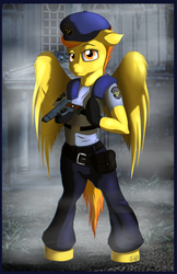 Size: 1200x1855 | Tagged: safe, artist:ookamithewolf1, spitfire, anthro, arm hooves, capcom, clothes, crossover, female, gun, jill valentine, police pony, resident evil, solo, weapon