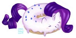 Size: 900x446   Tagged: safe, artist:onnanoko, rarity, donut pony, food pony, original species, donut, pixiv, solo, wat