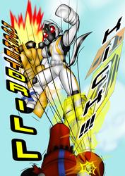 Size: 1240x1754 | Tagged: safe, artist:fourze-pony, comic, crossover, drill, fight, finisher, fourze-stallion, kamen rider, kamen rider fourze, kick, ponified, rocket, tokusatsu, tumblr, tumblr comic