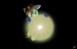 Size: 949x600 | Tagged: safe, artist:brisineo, oc, oc only, oc:littlepip, pony, unicorn, fallout equestria, atom, dark background, darkness, fanfic, fanfic art, female, hooves, horn, mare, simple background, solo