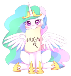Size: 1515x1615 | Tagged: safe, artist:sion, princess celestia, alicorn, pony, blushing, bronybait, cute, cutelestia, female, hug, hug request, looking at you, mare, mouth hold, note, scroll, simple background, sitting, smiling, solo, spread wings, white background