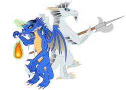 Size: 3000x2165 | Tagged: artist:cheezedoodle96, blue dragon, chromatic dragon, dragon, dragon oc, dungeons and dragons, duo, fire, fireball, halberd, magic, magic aura, metallic dragon, oc, oc only, safe, silver dragon, simple background, teenaged dragon, transparent background, vector
