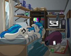Size: 4170x3300 | Tagged: safe, artist:template93, dj pon-3, octavia melody, vinyl scratch, pony, unicorn, apartment, beanbag chair, bed, bed mane, city, clothes, computer, cute, eyes closed, female, floppy ears, food, headphones, mare, meat, messy mane, on side, pepperoni, pepperoni pizza, phone, pizza, plushie, record player, sleeping, smiling, socks, solo, stereo, underhoof, vinylbetes, window