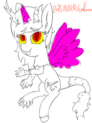 Size: 613x813 | Tagged: safe, artist:magical disaster, discord, 30 minute art challenge, eris, monochrome, neo noir, partial color, princess discord, rule 63, tongue out