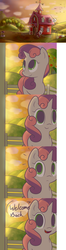 Size: 1280x4823 | Tagged: apple bloom, artist:spikedmauler, comic, cute, fourth wall, go ask sweetie belle, looking at you, looking up, notice, open mouth, orchard, raised hoof, safe, smiling, speech bubble, sunset, surprised, sweet apple acres, sweetie belle, tree, tumblr, waving, well