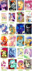 Size: 800x1767 | Tagged: safe, artist:xycuroisawesome108, apple bloom, applejack, derpy hooves, discord, flam, flash sentry, fluttershy, pinkie pie, princess celestia, princess luna, rainbow dash, rarity, scootaloo, shining armor, snails, snips, spike, sweetie belle, trixie, twilight sparkle, alicorn, draconequus, dragon, earth pony, pegasus, unicorn, derpibooru, applebuck, applejack (male), armor, barb, blushing, book, bubble berry, butterscotch, collage, cutie mark crusaders, dopey hooves, dusk shine, elusive, eris, flare warden, gleaming shield, guyra, macareina, meta, prince artemis, prince bolero, prince solaris, queen umbra, rainbow blitz, rule 63, scooteroll, sham, silver bell, spice, sugar, tag census, tristan