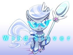 Size: 960x720   Tagged: safe, artist:almaska, silver spoon, cute, female, glare, glasses, hoof hold, looking at you, magical girl, scepter, smirk, solo, spoon
