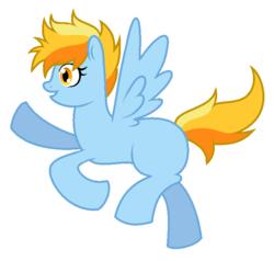 Size: 665x633 | Tagged: safe, artist:unoriginai, oc, oc only, oc:sunshine, pegasus, pony, blank flank, flying, magical lesbian spawn, offspring, parent:rainbow dash, parent:spitfire, parents:spitdash, simple background, solo, transparent background