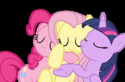 Size: 1115x737   Tagged: safe, artist:cyberzerop, fluttershy, pinkie pie, twilight sparkle, alicorn, pony, female, mare, simple background, sleeping, transparent background, trio, twilight sparkle (alicorn), vector