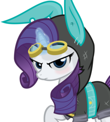 Size: 3000x3326 | Tagged: safe, artist:godoffury, rarity, pony, unicorn, blushing, bunny ears, clothes, dangerous mission outfit, female, glowing horn, goggles, hoodie, horn, looking at you, magic, mare, raised hoof, simple background, solo, transparent background, vector