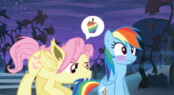 Size: 941x515 | Tagged: safe, artist:dilemmas4u, artist:skeptic-mousey, fluttershy, rainbow dash, batterscotch, butterdash, butterscotch, female, flutterbat, half r63 shipping, male, rule 63, shipping, straight, zap apple