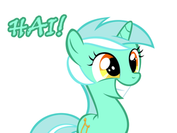 Size: 1280x960   Tagged: safe, artist:sintakhra, lyra heartstrings, pony, unicorn, cute, exclamation point, female, filly, filly lyra, grin, hai, hi, lyrabetes, mare, simple background, smiling, solo, squee, text, white background, younger