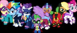 Size: 13989x6041 | Tagged: safe, artist:notlikelyanartist, applejack, fili-second, fluttershy, humdrum, masked matter-horn, mistress marevelous, pinkie pie, radiance, rainbow dash, rarity, saddle rager, spike, twilight sparkle, zapp, alicorn, pony, power ponies (episode), absurd resolution, female, mane seven, mane six, mare, power ponies, simple background, transparent background, twilight sparkle (alicorn), vector