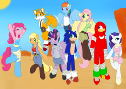 "Size: 1024x723 | Tagged: safe, artist:scribblesea, applejack, fluttershy, pinkie pie, rainbow dash, rarity, twilight sparkle, anthro, unguligrade anthro, crossover, knuckles the echidna, mane six, miles ""tails"" prower, sonic boom, sonic the hedgehog, sonic the hedgehog (series), sonicified, style emulation"