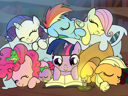 Size: 1109x831   Tagged: safe, artist:drawponies, applejack, fluttershy, gummy, pinkie pie, rainbow dash, rarity, spike, alligator, dragon, earth pony, pegasus, pony, unicorn, apple, applejack's hat, baby, baby dragon, baby spike, book, bookshelf, candle, cowboy hat, cuddle puddle, cuddling, cute, dashabetes, diabetes, diapinkes, drawponies is trying to murder us, eyes closed, female, filly, friendship, golden oaks library, hat, jackabetes, male, mane seven, mane six, pillow, raribetes, reading, shyabetes, sleeping, sleepover, smiling, spikabetes, stetson, twiabetes, weapons-grade cute