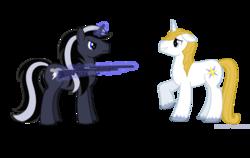 Size: 2200x1392 | Tagged: safe, artist:lonewolf3878, prince blueblood, oc, oc:chrome thunder, pony, unicorn, blueabuse, gun, magic, shotgun, weapon