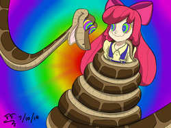 Size: 2800x2100 | Tagged: safe, artist:tomtornados, apple bloom, human, snake, coils, humanized, imminent vore, kaa, kaa eyes, mind control, peril, request, solo