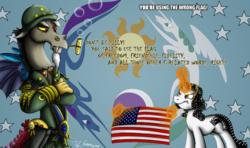 Size: 1200x711   Tagged: safe, artist:jamescorck, boneless, discord, oc, oc:movie slate, draconequus, pony, unicorn, american flag, ask, bubble pipe, clothes, corncob pipe, duo, equestrian flag, female, flag, general discord, helmet, magic, male, mare, patton, pipe, rubber chicken, telekinesis, tumblr, uniform