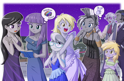 Size: 1200x787 | Tagged: safe, artist:uotapo, derpy hooves, dinky hooves, hoity toity, king sombra, maud pie, octavia melody, silver spoon, zecora, equestria girls, rainbow rocks, :t, angry, apron, background human, beautiful, book, clothes, color set, cute, derpabetes, dinkabetes, dress, equestria girls-ified, female, glasses, good king sombra, gray, jealous, maudabetes, meta reference, night, open mouth, pun, silverbetes, tattoo, tavibetes, uotapo is trying to murder us, zecorable
