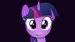 Size: 1920x1080   Tagged: safe, artist:albsi, twilight sparkle, beautiful, cute, female, happy, multicolored mane, open mouth, open smile, overly attached girlfriend, portrait, purple eyes, purple fur, smiling, smiling at you, solo, tomboy, wallpaper