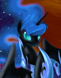 Size: 1800x2291 | Tagged: safe, artist:valcron, nightmare moon, alicorn, pony, armor, bust, colored pupils, ethereal mane, female, frown, helmet, hoof hold, looking at you, mare, pretty, slit eyes, solo, spread wings, starry mane, wings