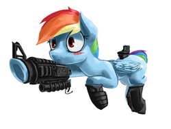Size: 1024x768 | Tagged: safe, artist:chickhawk96, rainbow dash, pegasus, pony, :<, an/peq-2, ar15, behaving like a weapon, blushing, eotech, frown, gun, inanimate tf, m203, mai raifus have met, objectification, picatinny rail, rainbow dash turning into an assault rifle, rifle, solo, transformation, transformers, transformers age of extinction, underhoof, wide eyes
