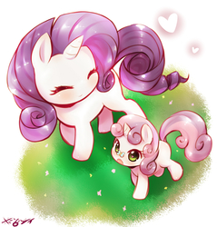 Size: 1275x1336 | Tagged: safe, artist:born-to-die, rarity, sweetie belle, butterfly, pony, unicorn, cute, diasweetes, eyes closed, female, filly, heart, heart eyes, mare, open mouth, raribetes, signature, sisters, smiling, weapons-grade cute, wingding eyes
