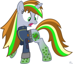Size: 1024x904 | Tagged: safe, artist:starlessnight22, oc, oc only, oc:littlepip, pony, unicorn, fallout equestria, clothes, cutie mark, fallout, fanfic, fanfic art, female, hooves, horn, mare, open mouth, pipbuck, rainbow power, rainbow power-ified, show accurate, simple background, solo, transparent background, vault suit