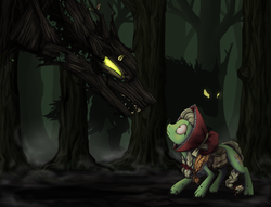 Size: 1521x1162   Tagged: dead source, safe, artist:28gooddays, granny smith, timber wolf, bonnet, dark, forest, little red riding hood, red riding hood, saddle bag, young, young granny smith, younger