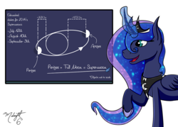 Size: 1000x714 | Tagged: artist:midnightsix3, astronomy, chalkboard, curved horn, lunadoodle, magic, moon, open mouth, planet, princess luna, raised hoof, safe, science, smiling, solo, supermoon, telekinesis
