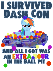 Size: 1280x1707 | Tagged: safe, artist:pixelkitties, rainbow dash, ball, ball pit, dashcon, extra hour, simple background, solo, text, transparent background