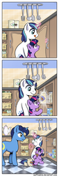 Size: 1000x2927 | Tagged: safe, artist:muffinshire, night light, shining armor, twilight sparkle, comic:twilight's first day, :t, caught, colt, cookie, cookie jar, cropped, cute, eating, filly, frown, glare, imminent grounding, kitchen, licking lips, lockpicking, magic, muffinshire is trying to murder us, nom, nose wrinkle, open mouth, puffy cheeks, raised hoof, slice of life, smiling, telekinesis, tongue out, twilight stealing a cookie, vegetables, wide eyes