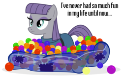 Size: 1200x747 | Tagged: safe, artist:masem, artist:pixelkitties, maud pie, ball pit, dashcon, dialogue, excited, fun, simple background, solo, transparent background, vector