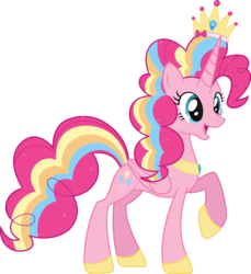 Size: 12689x13862   Tagged: safe, artist:auburnborbon, pinkie pie, alicorn, pony, absurd resolution, alicornified, female, pinkiecorn, race swap, rainbow power, simple background, solo, transparent background, vector, xk-class end-of-the-world scenario