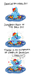 Size: 834x1962 | Tagged: safe, artist:lightfantastictgc, rainbow dash, pegasus, pony, ball pit, comic, crabs, dashcon, disgusted, female, frown, glare, grumpy, implied rarity fighting a giant crab, open mouth, sexually transmitted disease, shocked, sitting, smelly, solo, spread wings, tongue out, unamused, urine, wide eyes, yelling