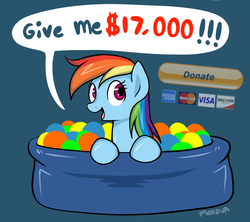 Size: 1280x1137 | Tagged: dead source, safe, artist:moozua, rainbow dash, pegasus, pony, american express, ball pit, bronybait, comic, cute, dashcon, dialogue, discover card, donate button, donation, female, mare, mastercard, paypal, pun, simple background, solo, visa