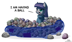 Size: 1024x600 | Tagged: safe, artist:zelc-face, maud pie, earth pony, pony, ball pit, dashcon, dialogue, female, mare, open mouth, pun, rock, signature, simple background, solo, white background