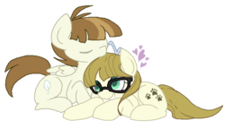Size: 666x383 | Tagged: safe, artist:rareponypairings, featherweight, zippoorwhill, cute, featherbetes, female, glasses, male, older, shipping, straight, zippoorbetes, zippoorweight