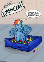 Size: 700x990 | Tagged: safe, artist:reaperfox, rainbow dash, ball pit, dashcon, solo