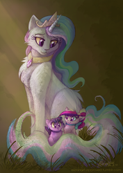 Size: 1000x1415 | Tagged: safe, artist:elbdot, princess cadance, princess celestia, twilight sparkle, alicorn, cat, :3, :<, bow, catdance, catified, catlestia, chest fluff, choker, crepuscular rays, cute, cutedance, cutelestia, elbdot is trying to murder us, fanfic, fanfic art, fanfic cover, featured image, female, fluffy, horn, kitten, lidded eyes, momlestia, necklace, simple background, sitting, smiling, species swap, sweet dreams fuel, tiara, twiabetes, twilight cat, twilight sparkle (alicorn), weapons-grade cute, wide eyes