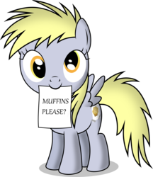 Size: 3228x3734 | Tagged: artist:notlikelyanartist, cute, derpabetes, derpy hooves, diabetes, filly, mouth hold, muffin, note, safe, solo, that pony sure does love muffins